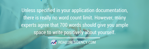 residency personal statement word count advice